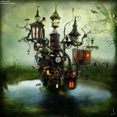 Steam punked Faery tree houses. ~ Photo from Old Moss Woman's Secret Garden, Thanks to Gothic realms
