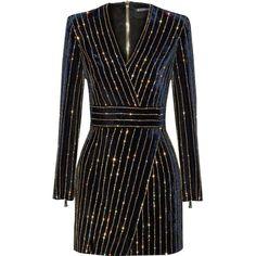 Balmain Embellished velvet mini dress ❤ liked on Polyvore featuring dresses, balmain, embellished dress, zip dress, velvet dress and zipper dress