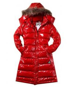 Moncler Classic Windproof Hooded Women Coat Long Sleeve Red