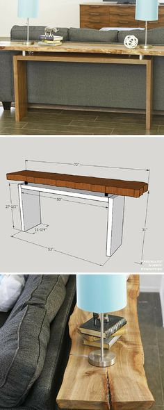 Learn how to build this live-edge floating-top console table! - Learn how to build this live-edge floating-top console table! Customize the top with any material o - Live Edge Furniture, Furniture Projects, Home Projects, Cool Furniture, Coaster Furniture, Live Edge Console Table, Live Edge Table, Console Tables, Table Beton