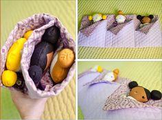 Slumber party dolls in roll up sleeping bag. Precious! pureandlasting.com