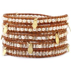 Chan Luu Champagne Mix Wrap Bracelet With Gold Leaf Charms On Natural... ($295) ❤ liked on Polyvore featuring jewelry, bracelets, brown, gold bangles, wrap bracelet, gold bracelet charms, gold bracelet and charm bracelet