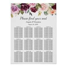 Shop Plum Purple Blush Floral Wedding Seating Chart created by CardHunter. Seating Chart Wedding, Seating Charts, Purple Blush, Create Your Own Poster, Personalised Wedding Invitations, Custom Posters, Watercolor Flowers, Custom Framing, Floral Wedding