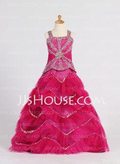 Flower Girl Dresses - $173.49 - A-Line/Princess Sweetheart Floor-Length Satin Tulle Flower Girl Dress With Ruffle Beading Sequins (010007372) http://jjshouse.com/A-Line-Princess-Sweetheart-Floor-Length-Satin-Tulle-Flower-Girl-Dress-With-Ruffle-Beading-Sequins-010007372-g7372