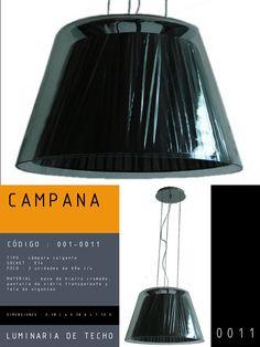 Luminaria de Techo modelo CAMPANA CÓDIGO : 001-0011 TIPO : Lámpara colgante SOCKET : E14  FOCO : 3 unidades de 60w c/u MATERIAL : Vidrio / tela DIMENSIONES : 0.38 L x 0.38 A x 1.10 H
