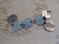 Unusual Vintage Canadian Penny Bracelet 1933 by LeapingFrogDesigns, $40.00