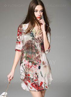 Vestidos - $93.52 - Seda Floral Media manga Sobre las rodillas De época Vestidos…