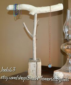 Jewelry holder,  driftwood jewelry display, driftwood display,  necklace holder,  necklace display,  etsy, beachmemoriesbyjools