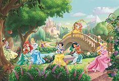 Fotomural infantil de las princesas de Disney - http://vinilos.info/producto/fotomural-infantil-de-las-princesas-de-disney/ #Disney  Medidas:3,68 x 2,54 m (ancho x alto) Calidad premium Fácil de instalar     #HabitaciónInfantil   #decoracion