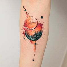 watercolor landscape tattoo © tattoo artist Koray Karagözler ❤☪️❤☪️❤☪️❤ watercolor tattoo Explosion of Colors: Beautiful Watercolor Tattoos by Koray Karagözler Nature Tattoos, Inspirational Tattoos, Body Art Tattoos, Planet Tattoos, Abstract Tattoo, Tattoos For Guys, Tattoos For Women, Landscape Tattoo, Tattoo Designs