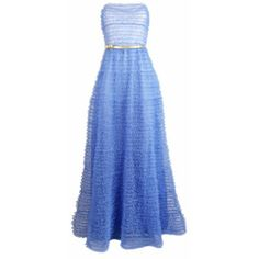 Plakinger Golden Bow Tulle Evening Gown ($1,599) ❤ liked on Polyvore featuring dresses, gowns, long dress, blue ball gown, ombre gown, skater skirt, blue evening dresses and blue evening gown