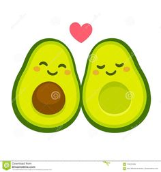 Cute cartoon avocado couple in love, `avocuddle`. two avocado halves with heart, st. Cute Easy Drawings, Cute Cartoon Drawings, Cute Kawaii Drawings, Cartoon Illustrations, Business And Advertising, Avocado Cartoon, Cute Avocado, Card Drawing, Valentines Day Greetings