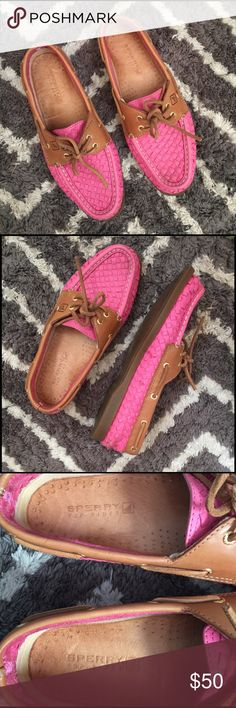 ⚡️SALE • Sperry Top-Sider Boat Shoes Super cute pink basket weave style Sperry's - one of my favorite pairs - shoes do have signs of wear - but are still in good condition - size 8.                                        ⚡️Sale Price FIRM⚡️ Sperry Shoes Flats & Loafers
