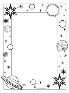 Space/Planets- Portrait Blank - Teacher Clipart Borders Something like this for pic frame? Anyway- we need a frame Borders And Frames, Borders For Paper, Borders Free, Doodle Borders, Page Borders Design, Border Design, Vbs Crafts, Crafts For Kids, Vbs Themes