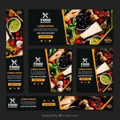 Healthy food restaurant banner collection with photos Free Vector Food Web Design, Food Graphic Design, Food Poster Design, Cafeteria Menu, Banner Design Inspiration, Gfx Design, Restaurant Menu Design, Restaurant Restaurant, Food Banner