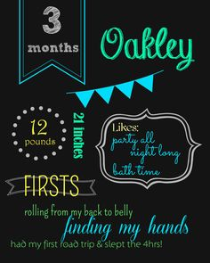 Monthly Baby Chalkboard Sign by VintageJPearlDesigns on Etsy, $12.00