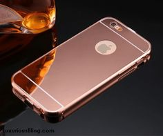 Rose Gold Metal Frame iPhone Case with removable Mirror Back for iPhone 6 / 6 Plus