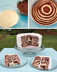 How cool is this zebra cake! It's pretty on the outside and a party on the inside. ; ) A vanilla and chocolate mix like this one is ideal for a zebra theme party, of course, but you could also make the stripes in any ...