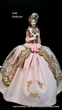 Porcelain Half Doll, Pincushion Dresser Doll, Hand Painted Hand Made, OOAK