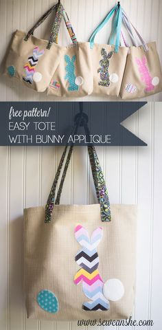 Egg Finding Bags - free easy tote pattern with bunny applique — SewCanShe | Free Daily Sewing Tutorials