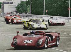 (27) Ignazio Giunti - Alfa Romeo T33/3 - Autodelta - (2) Jo Bonnier - Lola T70 Mk.3B GT Chevrolet - Joakim Bonnier/Scuderia Filipinetti - (26) Vic Elford - Porsche 908/02 - Tony Dean - (8) David Piper - Ferrari 412P - David Piper Racing - 1969 Norisring 200 Miles - Non Championship Race