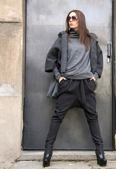 CHARCOAL DROP CROTCH PANTS B05114