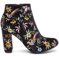 Fanciful Florals Chunky Velvet Booties