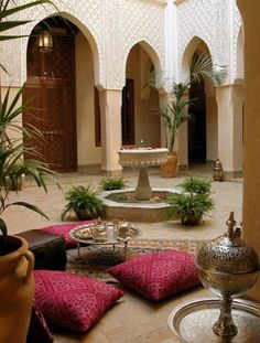 Insider's Guide to Marrakech Riad Kniza in Marrakech, an wonder with three open courtyards and breakfast served on a rooftop terrace.Riad Kniza in Marrakech, an wonder with three open courtyards and breakfast served on a rooftop terrace. Design Marocain, Style Marocain, Moroccan Design, Moroccan Style, Indian Style, Arab Style, African Style, Moroccan Garden, Morrocan Decor