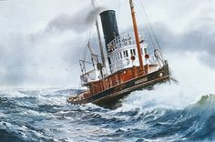 """""""STEAM TUG IROQUOIS"""" - Watercolor, in Tugboat Paintings"""