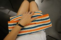 코바늘 가방 : 손뜨개 여름 가방 : 무료 도안 : 미도리(MIDORI) 실로 만든 스트라이프 백Crochet S...