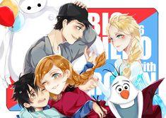 """Cross-over between """"Big Hero 6"""" and """"Frozen"""" - Art by うさぎ"""