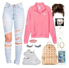 """""""Untitled #541"""" by bosslanaia on Polyvore featuring Victoria's Secret PINK, NIKE, Rimini, MCM, Betsey Johnson and Gucci"""