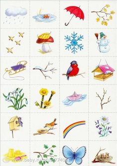 "I could make a memory/ association card game for the kids about ""Seasons""/""Weather"", etc Spring Activities, Learning Activities, Activities For Kids, Crafts For Kids, Weather For Kids, Bird Theme, Montessori Materials, Pictures To Draw, Kids Education"