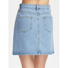 A Line Denim Skirt ❤ liked on Polyvore featuring skirts, knee length denim skirt, blue denim skirt, knee length a line skirt, blue a line skirt and a line skirt