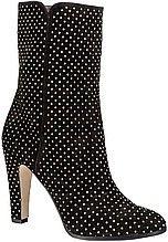 сапоги, женские, черные, замшевые, с заклепками, на высоком каблуке