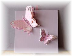 Cadre toile décoration chambre enfant/bébé fille - idée cadeau - papillons en relief