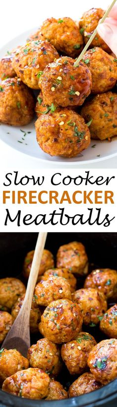 Super Easy Slow Cooker Firecracker Chicken Meatballs. The perfect blend of spicy…