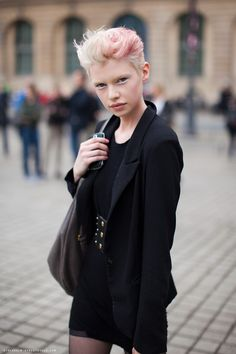 Short Pink Hair and Black I via Stockholm Street Style