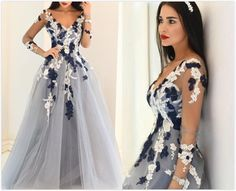 Charming Prom Dress,Appliques Prom Dress,Tulle Prom Dress,Long-Sleeves Prom