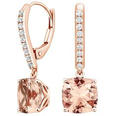 14K Rose Gold Morganite and Diamond Drop Earrings (9,720 GTQ) ❤ liked on Polyvore featuring jewelry, earrings, diamond earrings, peach earrings, diamond drop earrings, rose gold drop earrings and earring jewelry