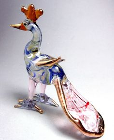 Blue PEACOCK Hand made Blown ART GLASS Miniature Figurine - GIFT bird collection