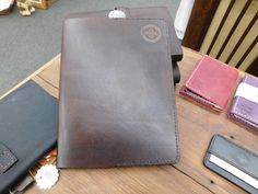 Handmade Custom Cajun Leather Works Medium Brown Stained Thick Leather Large Composition Pad Portfolio EDC Organizer Card Holder Made In USA by CajunLeatherWorks on Etsy
