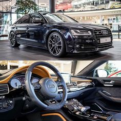 Bullseye: #Carbonblack #S8plus with #yellow interior accents by #AudiExclusive…