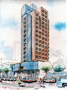 Ilustração para o escritório Viotti Arquiteto e associados 1991, papel schooler aquarela e pastel seco.