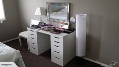 IKEA Linnmon & Alex drawers with makeup & brushes   Trade Me