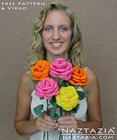 DIY Free Pattern and YouTube Video Tutorial Crochet Rose Bouquet - Roses with Stems and Leaves by Donna Wolfe from Naztazia