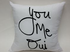 Give your bed some love with You Me Oui bed love pillow cover. Hello You, Love Cover, Are You Happy, You And I, Pillow Covers, Throw Pillows, Bed, Image, Tu Y Yo