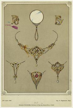 20 Ideas Jewerly Drawing Antique 20 I. Bijoux Art Nouveau, Art Nouveau Jewelry, Jewelry Art, Fine Jewelry, Jewelry Ideas, Antique Jewellery Designs, Antique Jewelry, Vintage Jewelry, Design Art Nouveau