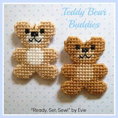 Plastic Canvas: Teddy Bear Buddies -- set of 2 two-sided bears (metal split rings and lanyard hooks included)