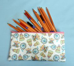 Your place to buy and sell all things handmade Pencil Cases, Pencil Pouch, Pattern Design, Print Design, Bright Color Schemes, Peg Bag, Back To School Gifts, New Print, Wash Bags